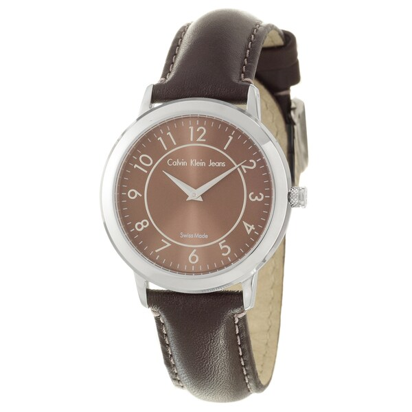Calvin Klein Jeans Women's 'Continual' Stainless Steel and Leather Quartz Watch