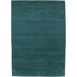 Hand-knotted Solid Blue Casual Chesterfield Semi-worsted Wool Area Rug (5' x 8') - Thumbnail 0