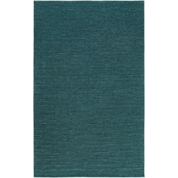 Hand-knotted Solid Blue Casual Chesterfield Semi-worsted Wool Area Rug - 5' x 8'