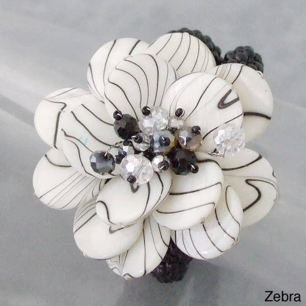 Gemstone Lotus Flower Cuff Bracelet