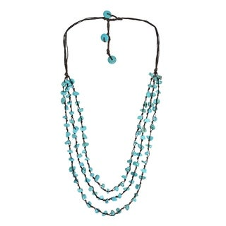 Handmade Three-Strands Turquoise Cluster Necklace (Thailand)