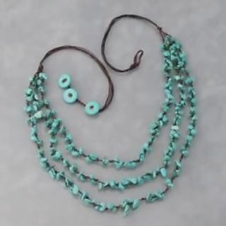 Three-Strands Turquoise Cluster Necklace (Thailand)