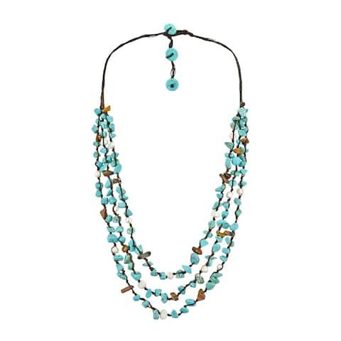 Handmade Long Triple Layers-Strand TQ-Tiger eye-Pearl Necklace (Thailand)