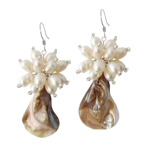 Handmade Sterling Silver Mother Of Pearl And Flower Earrings Thailand