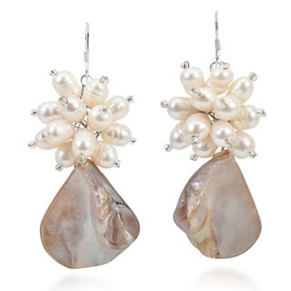 Handmade Sterling Silver Mother of Pearl and Pearl Flower Earrings (Thailand)