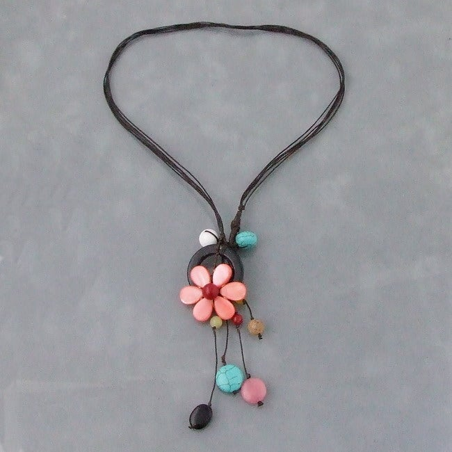 Handmade Black Multi-Gemstone Flower Necklace (Thailand)