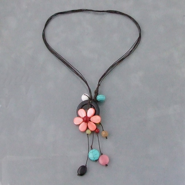 Handmade Black Multi-Gemstone Flower Necklace (Thailand) - Thumbnail 0
