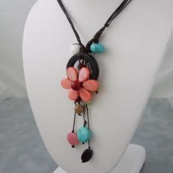 Handmade Black Multi-Gemstone Flower Necklace (Thailand) - Thumbnail 1