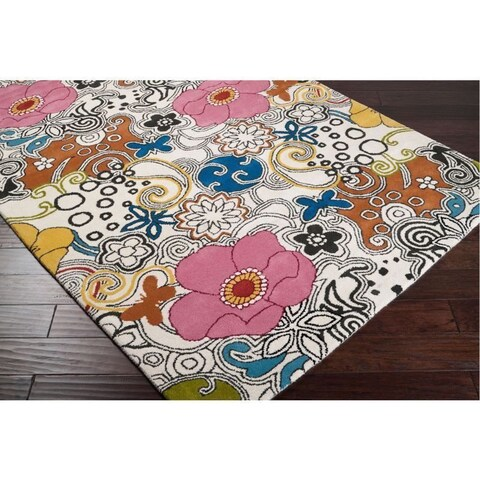 Hand-tufted Contemporary Multi Colored Floral Bungay New Zealand Wool Area Rug - 9' x 13'