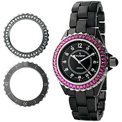 Peugeot Women's Black Swiss Ceramic Interchangeable Bezel Watch Set