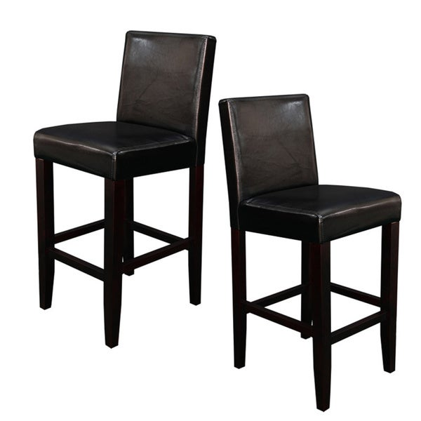 villa faux leather black counter stools set of 2 free shipping today 13986307. Black Bedroom Furniture Sets. Home Design Ideas