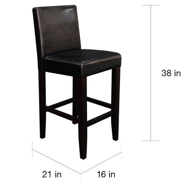Black Leather Counter Stools Part - 30: Villa Faux Leather Black Counter Stools (Set Of 2) - Free Shipping Today -  Overstock.com - 13986307