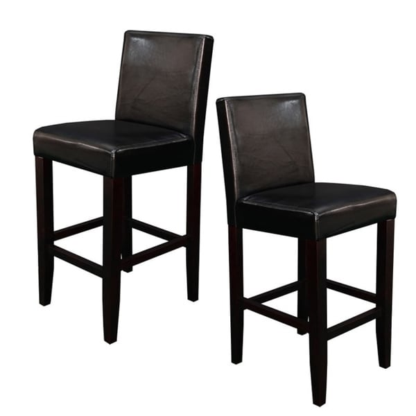 Shop Villa Faux Leather Black Counter Stools Set Of 2