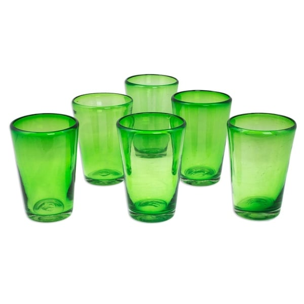 d40072f5879 Shop Handmade Glass Emerald Angles Drinking Glasses Set of 6 (Mexico ...