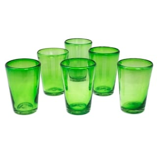 Hand Blown Glass Emerald Angles Drinking Glasses (Set of 6) (Mexico)