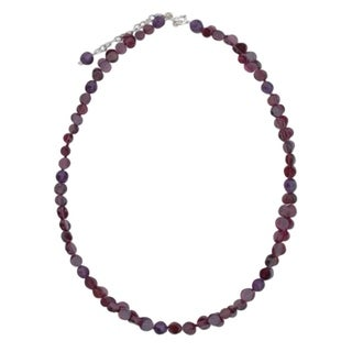 Handmade Sterling Silver 'Grape Garland' Garnet Amethyst Necklace (Thailand)