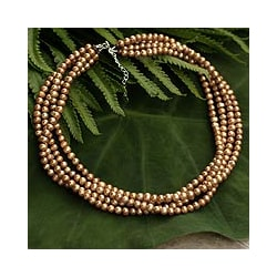 Golden Freshwater Pearl 'Golden Secrets' Necklace (4.5 mm) (Thailand)