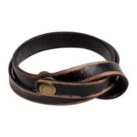Handmade Leather 'Daring in Black' Wrap Bracelet (Indonesia)