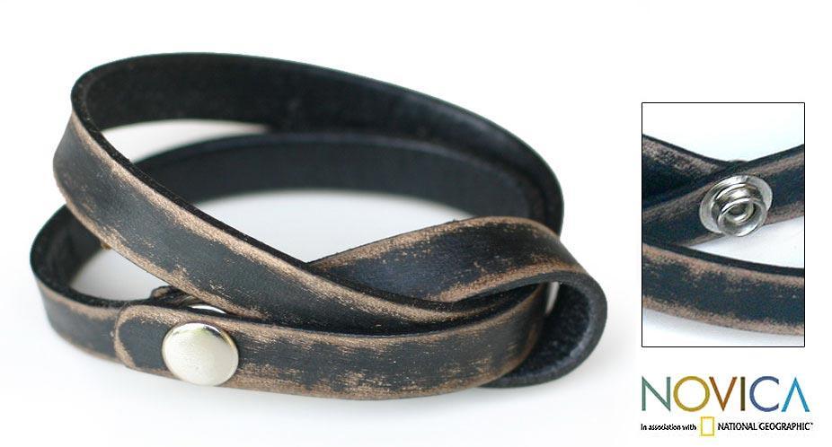 Handmade Leather 'Daring in Black' Wrap Bracelet (Indonesia)
