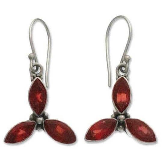 Handmade Sterling Silver X27 Helix Garnet Earrings