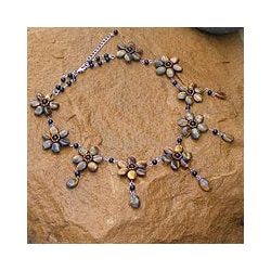 Stainless Steel 'Honey Jasmine' Tiger's Eye Choker (Thailand)