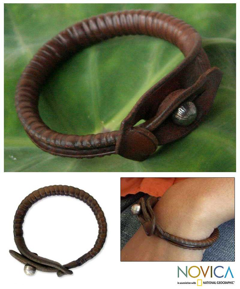 Handmade Leather 'Rugged Chic' Bracelet (Thailand)