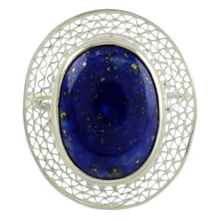 Handmade Sterling Silver 'Whisper' Lapis Lazuli Cocktail Ring (India) - Blue