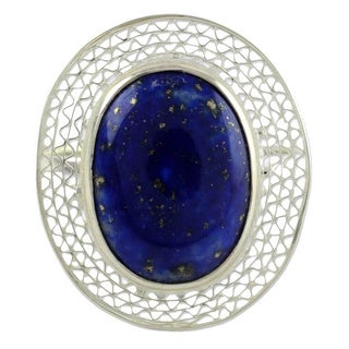 Handmade Sterling Silver 'Whisper' Lapis Lazuli Cocktail Ring (India)