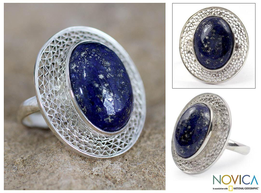 Handmade Sterling Silver 'Whisper' Lapis Lazuli Cocktail Ring (India)
