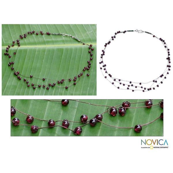 Handmade Multi-gemstone 'Siamese Cranberry' Necklace (Thailand)