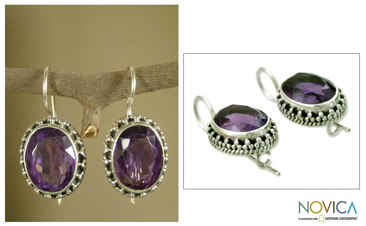 Sterling Silver 'Dazzle' Amethyst Dangle Earrings (India)