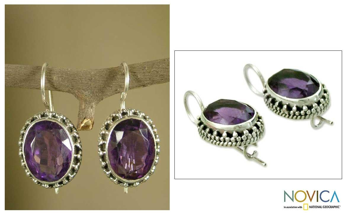 Handmade Sterling Silver 'Dazzle' Amethyst Dangle Earrings (India) - Thumbnail 0