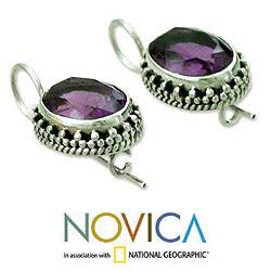 Handmade Sterling Silver 'Dazzle' Amethyst Dangle Earrings (India) - Thumbnail 2