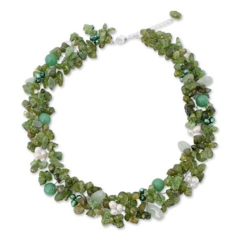 Handmade Multi-gemstone Pearl 'Lime Sensation' Necklace (3-4 mm) (Thailand)