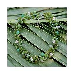 Handmade Multi-gemstone Pearl 'Lime Sensation' Necklace (3-4 mm) (Thailand)