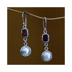 Handmade Sterling Silver 'Pure Passion' Pearl Earrings (9 mm) (Indonesia)