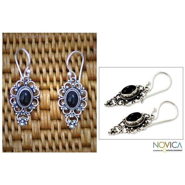 Handmade Sterling Silver 'Precious Night' Onyx Dangle Earrings (Indonesia)