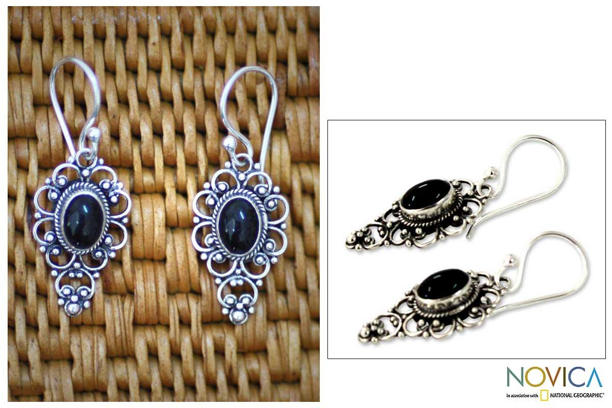Handmade Sterling Silver 'Precious Night' Onyx Dangle Earrings (Indonesia)