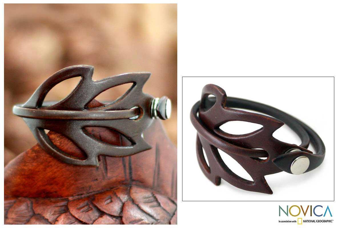 Autumn Leaf Whimsical Handmade Artisan Designer Fashion Clothing Accessory Brown Leather Wrap Jewelry Bracelet (Indonesia)