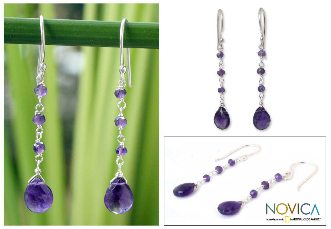 Handmade Sterling Silver 'Lady' Amethyst Earrings (Thailand)