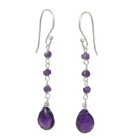 Sterling Silver Lady Amethyst Earrings