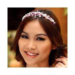 Handmade Stainless Steel 'Lavender Romance' Pearl Headband (Thailand)