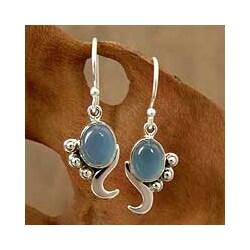 Hindu Harmony Gray Blue Oval Chalcedoney Set in Swirling Polished 925 Sterling Silver Womens Dangle Earrings (India)