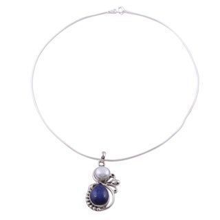 India Moon Pear Blue Lapis Lazuli Gemstone with White Pearl on Snake Chain 925 Sterling Silver Womens Pendant Necklace (India)