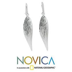 Sterling Silver 'Snow Wind' Earrings (Thailand) - Thumbnail 1