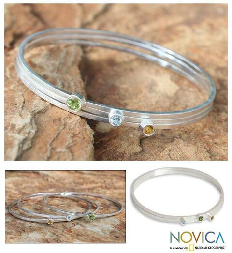 Handmade Set of 3 Sterling Silver 'Spring Rainbow' Multi-gemstone Bracelets (Thailand)