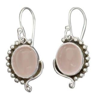 Link to Handmade Sterling Silver Delhi Romance Rose Quartz Dangle Earrings (India) Similar Items in Earrings