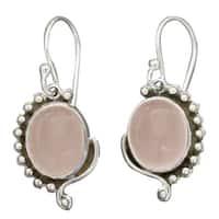 Handmade Sterling Silver 'Delhi Romance' Rose Quartz Dangle Earrings (India)