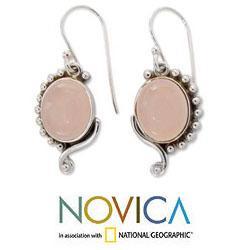 Sterling Silver 'Delhi Romance' Rose Quartz Dangle Earrings (India)