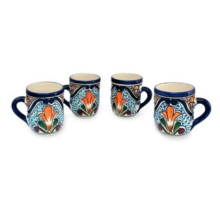 Set of 4 Handcrafted Ceramic 'Taste of Mexico' Talavera Mugs (Mexico)